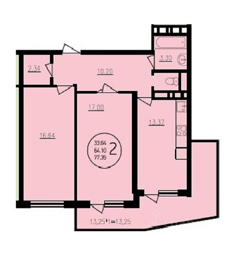 2 комнатная с угловым балконом - 2 комн. квартира, недвижимо.