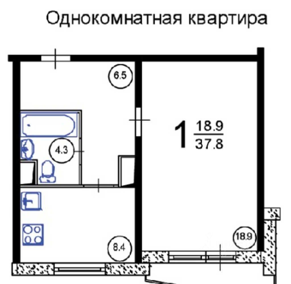 Аренда однокомнатной квартиры 38 м? на улице дыбенко, д. 6к1.