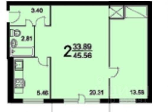 35 000 руб. в месяц - двухкомнатная квартира 44,5 м?: молодо.
